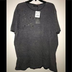 Zara man grey distressed studded T-shirt